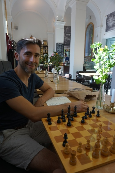 Playing chess in Cafe Strauss